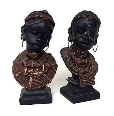 Bust Resin Figurines Kenya Maasai Masai Pair African Tribal Home Décor Set