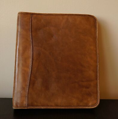Day-timer Distressed Leather Folio Planner Cover Dark Tan Zippered Organizer