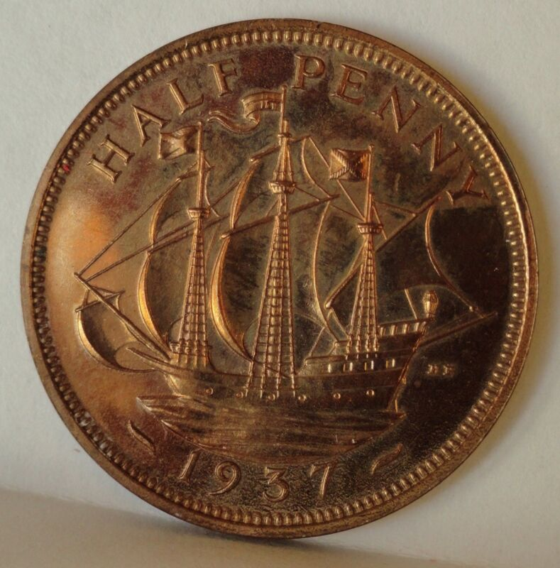 GREAT BRITAIN PROOF 1937  1/2 PENNY