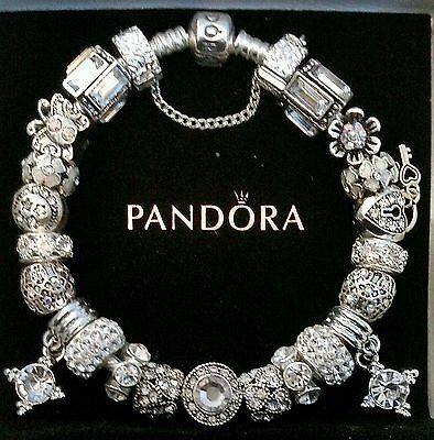 Authentic Pandora Sterling Silver Charm Bracelet With European Beads Charms  40