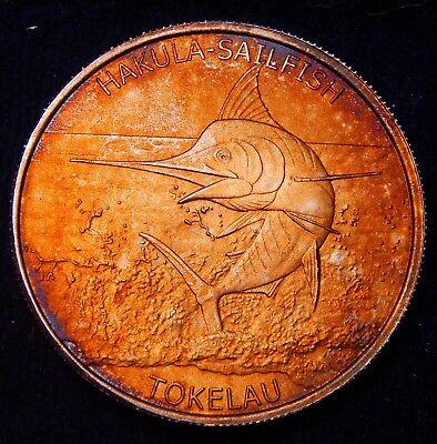 *Monster NATURAL Toned* New Zealand Tokelau 2016 Hakula Sailfish Silver $5 Coin!