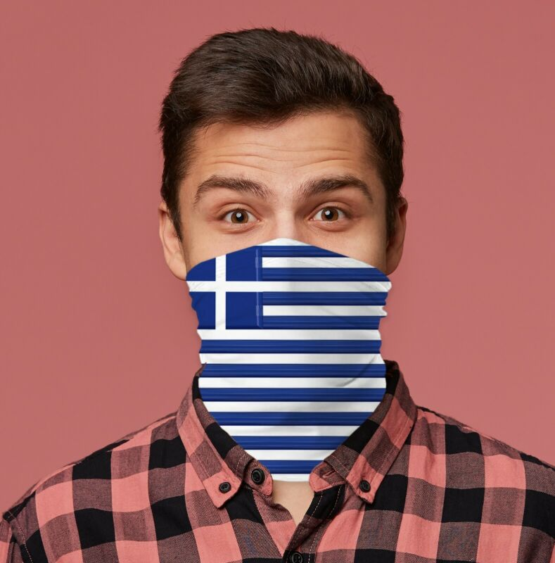 Greek Flag Design Face Snood Greece Neck Tube Neck Warmer