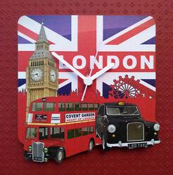 CITY OF LONDON CLOCK TAXI DOUBLE DECKER BUS BIG BEN HAND MADE WOODEN WALL CLOCK
