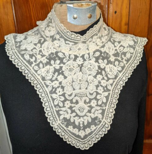 Antique Victorian Embroidered Net Lace High Neck Collar