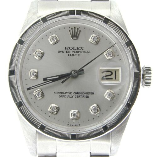 $2799.98 - Mens Rolex Date Stainless Steel Watch Oyster Style Band Silver Diamond Dial 1501