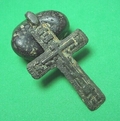 Ancient Bronze Cross Wearable Pendant Antique Rare C166