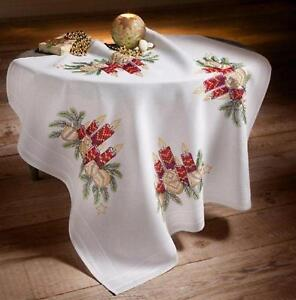 Deco-Line Printed Cross Stitch Tablecloth Kit - Christmas Candles & Baubles