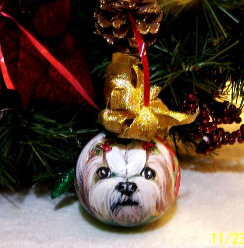 hand painted Shih Tzu on medium Christmas glass Ornament original art