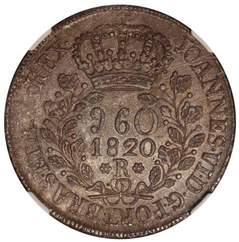 1820-R Brazil 960 Reis Silver Coin - NGC AU 58 - KM# 326.1
