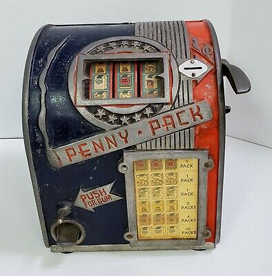 B64 1930'S DAVAL PENNY PACK THREE REEL TRADE STIMULATOR SLOT MACHINE WORKING!