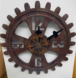 BULOVA WALL CLOCK - INDUSTRIAL DESIGN- ANTIQUE FINISHED GEAR - MOTION C4373