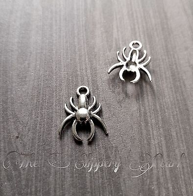 10 Spider Charms Antique Silver Tone Arachnid Halloween Pendants Findings