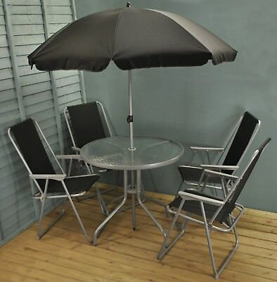 Garden Furniture - Metal Garden Patio Furniture Table and Chair Set with Folding Chairs (6 Piece)