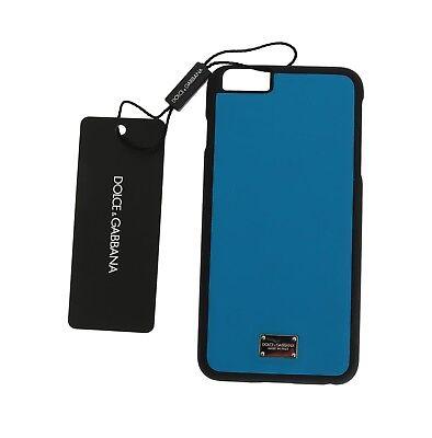 NEW $150 DOLCE & GABBANA Phone Case Skin Blue Silver Logo Leather iPhone6 Plus