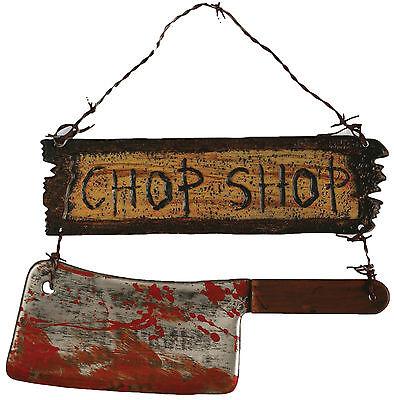HALLOWEEN CHOP SHOP SIGN CLEAVER BUTCHER CEMETARY GRAVEYARD DECORATION - Halloween Butcher Shop
