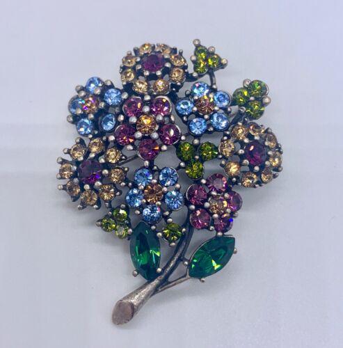 Signed HOBE Flower Brooch Bouquet Floral Rhinestone Pin Bunch Blue Purple Green
