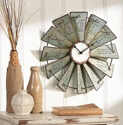 Farmhouse Embossed Rustic Metal Windmill Wall Clock Vintage Primitive Country