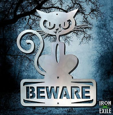 BEWARE OF CAT -- Funny Metal Sign Wall Art Halloween No Trespassing Keep Out - Halloween Signs Funny