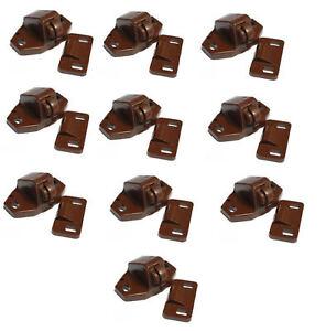 10 x Brown Roller Catches For Caravan Motorhome Boat Cupboard Door Catch Locker