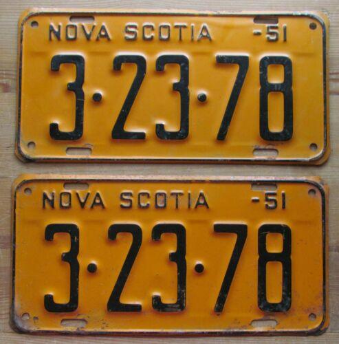 Nova Scotia 1951 License Plate PAIR - NICE QUALITY # 3-23-78