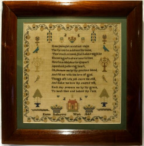 MID 19TH CENTURY SMALL RED HOUSE, MOTIF & VERSE SAMPLER BY EMMA ROLLASON - 1849