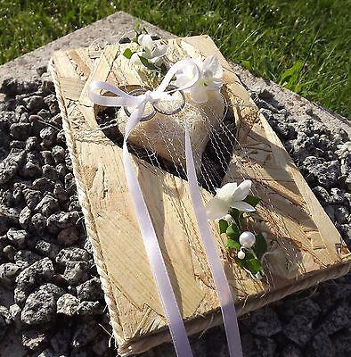 Ringkissen Ringhalter OSB Holz Herz Sisalherz creme für Eheringe Hochzeit Liebe