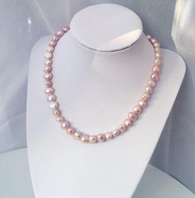 echten Süßwasserperlen Barock Halskette rosagold AAAQualitä (Gold-perlen-kette)