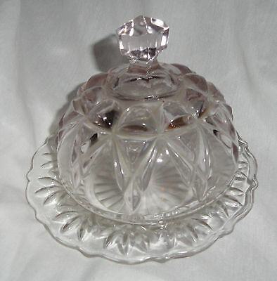 Pretty Little Glass Covered Cheese or Butter Dish - Plate
