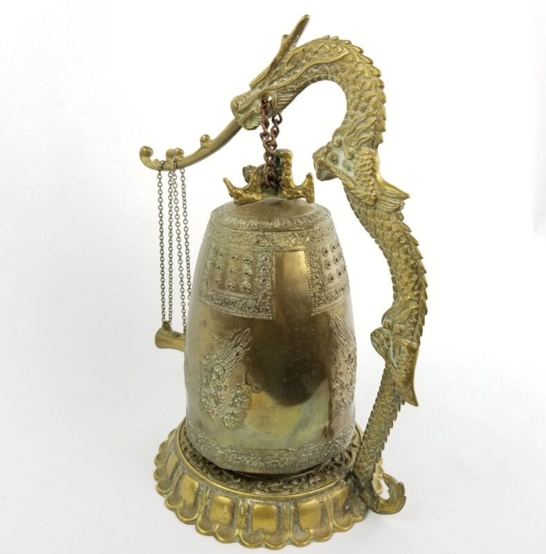 Antique Japanese Bronze Dragon Bell or Incense Burner Buddhist Deities and Psalm