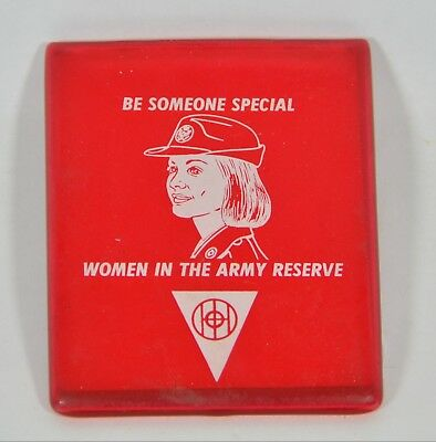 VTG Pocket Mirror Women in the Army Reserve Red Plastic Rubber Sleeve Military - Women In The Army