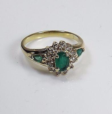 Beautiful Estate Natural Emerald and Diamond Band Ring,14 k gold, size 6.5