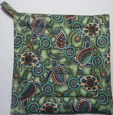 Deluxe Hot Pad/ Pot Holder: ABORIGINAL TURTLES: Olive Green