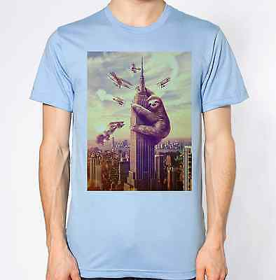 Sloth T-Shirt Empire State Building Top Godzilla Tee Humour Funny - Top Empire State