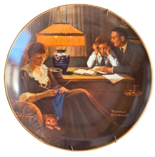 Edwin Knowles Norman Rockwell FATHERS HELP Collector Plate 1983 COA & Box