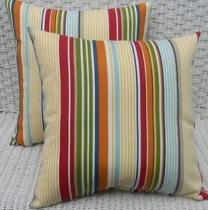 Blue Green Orange Throw Pillows : Set of 2 Yellow Red Green Orange Blue Stripe Outdoor Decorative Throw Pillows eBay