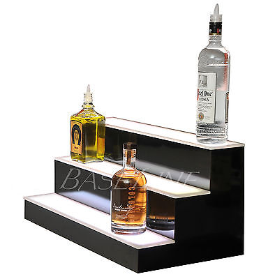 "24"" LED BOTTLE RACK BAR SHELF, 3 Step Home Bar Glass Display Shelving Rack"