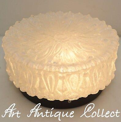 Flush Mount Decke Leuchte (70er Decken / Wand-Leuchte Plafoniere Flush Mount Ceiling Lamp Clear Ice Glass)