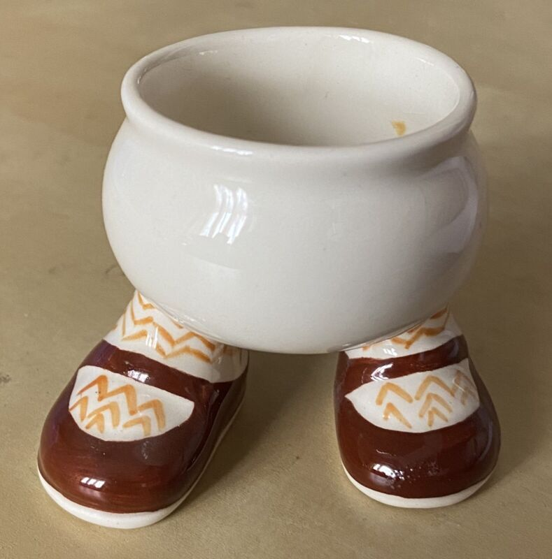 Vintage 1970s Lustre Pottery ceramic egg cup holder Shoes Legs Made In England
