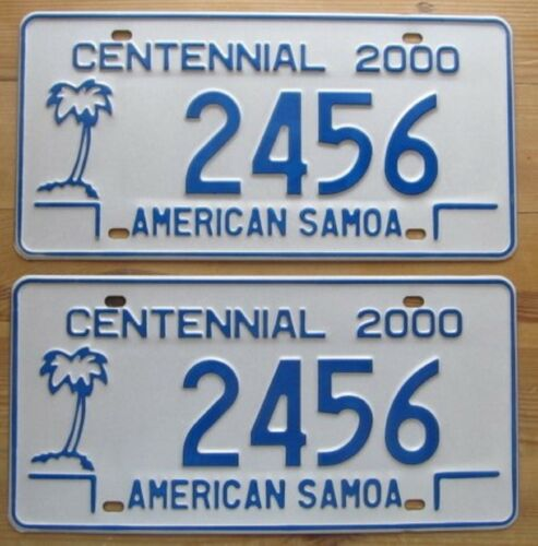 American Samoa 2000 CENTENNIAL License Plate PAIR - MINT QUALITY # 2456