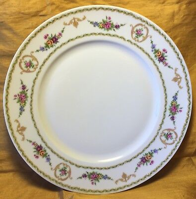"""Rare Tharaud LIMOGES Medaillon Floral Pattern 10.25"""" Dinner Plate - France"""