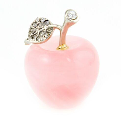 Feng Shui Rose Quartz Apple with Leaf