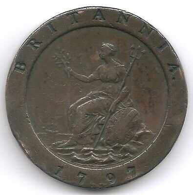Great Britain 1797 2 Pence Cartwheel KM 619 Only 722,000 Minted George III