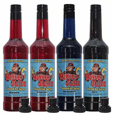 You Choose Flavors 4 Bottles Of Snow Cone Syrup - Made With Pure Cane Sugar
