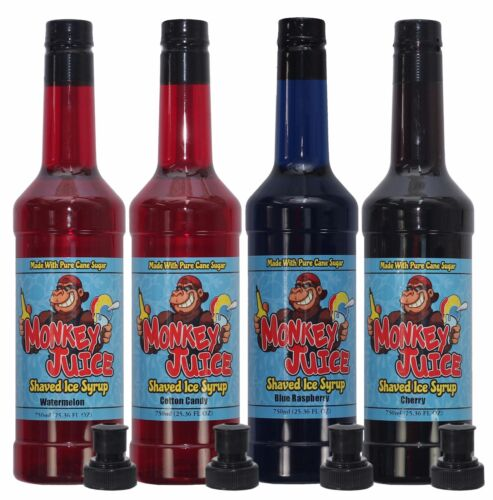 You Choose Flavors! 4 Bottles of Snow Cone Syrup - Made with PURE CANE SUGAR