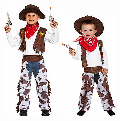Cowboy Dressing Up Costume Kids Fancy Dress For Boys & Toddlers Age 3-12 Years