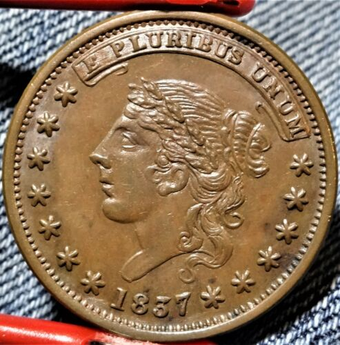 HT-47 Low-32 1837 Liberty Head / Not One Cent For Tribute Hard Times Token