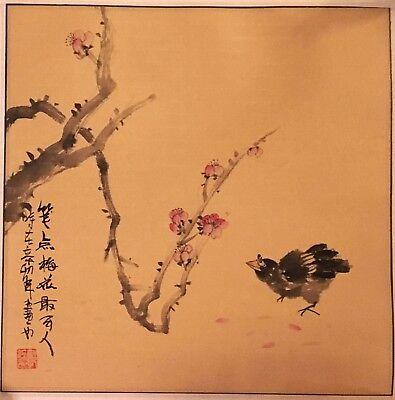 Vogel undKirschblüte- CHINA Tuschenmalerei - HAND GEMALT SIGNISIERT 49 x 49cm