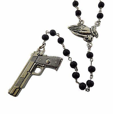 Gun Praying Hands Rosary Rock Rebel Original Logo Metal Gothic Tattoo -