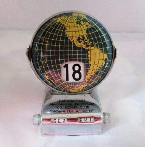 Vintage 1968 World Globe Perpetual Calendar Flip Desk Calendar World Green YMCA