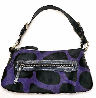 INNUE' Made in Italy Spotted Haircalf Purple Black Leather Zip Top Shoulder Bag